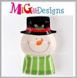 New Style Ceramic Snowman Shape Plate as Unique Christmas Gifts