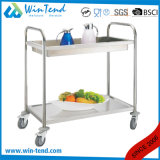 Multipurpose 2 Tiers Round Tube Deep Shelves Waste Trolley for Clean and Collecting