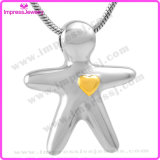 Ijd9720 Fashion Body Shape Yellow Heart Cremation Pendant Necklace Ashes Keepsake Memorial Holder