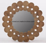 Round Wall Decorative Natural Wood Framed Hanging Mirror