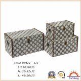 Wooden Antique Suitcase Storage Box Gift Box with Leaf Patterns.
