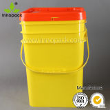 20L Custom Square Plastic Bucket with Handle and Colorful Lid
