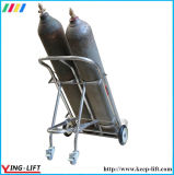 Movable Stainless Steel Double Cylinder Hand Trolley with Chain Ty130A