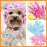 Blue Pink Dog Puppy Pet Plastic Bath Shower Brush Comb Massage Palm Hand