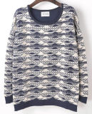 Women Fashion Knitted Round Neck Long Sleeve Sweater Clothes (X-263)