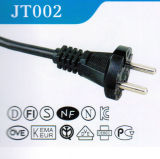 VDE Approved Europe AC Power Cord with Plug 2 Pins Round (JT002)