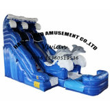 Outdoor Water Park Wave Shape Inflatable Slide with Dophin