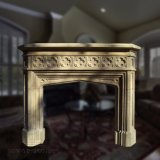 High Quality Hand Carved Gothic Marble Mantel Fireplace for Home