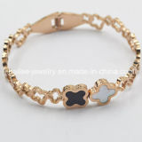 Flower Stainless Steel Plated Rose Gold Bangle