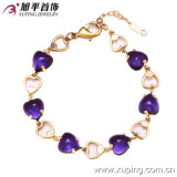 72830 New Arrrival Fashion 14k Gold-Plated Elegant Heart-Shaped Crystal Jewelry Bracelet in Copper Alloy