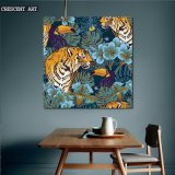 Canvas Print Tiger and Crow Picture