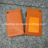 Orange Color Leather Neck Strap Lanyard ID Window Card Holder