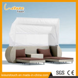 Outdoor Patio Beach Furniture Sunbed Daybed Rattan Deck Chair Lying Bed with Tent