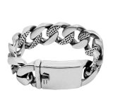 Personality Men Wide Bracelets Titanium Steel Jewelry Silver Color