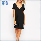 Sexy Fashion Deep V-Neckline Swing Dress with Front Button