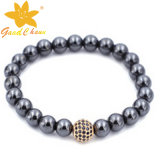 Htb-16112804 10mm Black Round Shape Magnetic Hematite Benefits with 1 Big CZ Ball Bracelet