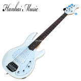 Hanhai Music / 5-String White Electric Bass Guitar with Pearl Pickgaurd