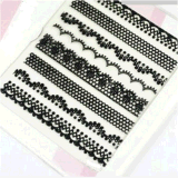 Fashionable Black White Lace Design Nail Art Stickers Nail Sticker