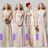 Champagne Chiffon Wedding Formal Gowns Long Bridesmaid Evening Dresses A11