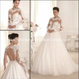 2016 Bridal Gowns Tulle Lace Long Sleeves Vestido Wedding Dress W1904