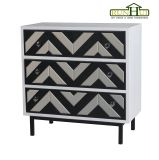 Home Decoration 3 Drawer Mirror Chevron Cabinet Livingroom Furniture