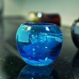 Blue Color Round Shaped Glass Candle Holder with Capacity 12oz