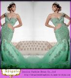 2014 Latest Designer Elegant Mermaid off The Shoulder Lace Back Floor Length Appliqued Bodice Long Green Wedding Dress (MN1484)