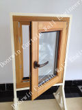 Solid Teak Wood Aluminum Casement Window with Double Glass
