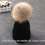 Kid Hats with Real Fur Ball