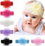 OEM Baby Girls Elastic Headband Chiffon Flower Photography Headbands, Boutique Floral Headband