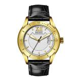Gold Watch Men Luxury Wholesale Waterproof Stainless Steel Case Black Italian Leather Strap Custom Watches