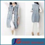 Light Blue Sleeveless Women Fashion Long Denim Vest (JC4103)