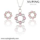 Fashion Elegant CZ Diamond Circles-Shaped Rhodium Jewelry Set for Girls - 63796