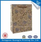 Heart Shape Printed Kraft Paper Shopping Bag for Gift Packing