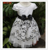 Beauty Tulle Embroidered Black Bow Flower Extenable Bottom Prom Girls Dress
