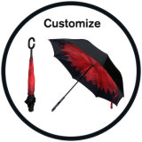 Double Layer Reverse Inverted Umbrella with C Handle