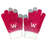 Red Embroidered Touchscreen iPhone Gloves (JRAC046)