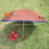 Brown Straight Umbrella with Purple Wool Ball (YSL003B)