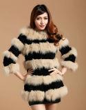 Women′s Winter Warm Rabbit Fur and Fox Fur Patchwork Long Coat