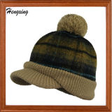 Knit Beanie Baseball Hat with a Top Ball Knitted Hat