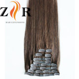 Brown Color Natural Drawn Mongolian Hair Clip in Human Hair Extension