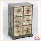 Antique Silver 6-Drawer Wooden Gavalnized Cabinet for Bedroom