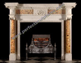 Limestone Fireplace with Carved Stone Marble Mantel (QY-LS376)