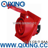 Cee 4 Pins Red Industrial Angle Type Panel Mounted Plug