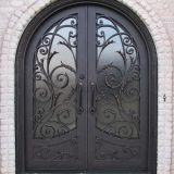 Round Top Exterior Wrought Iron Double Door (UID-D032)