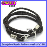 Custom Leather Alloy Anchor Bracelet for Men #578