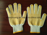 Knitted Breathable Natural Cotton Yellow PVC Dotted Gloves
