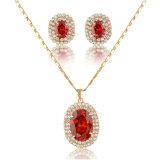 Wholesale Luxury Red Stone 18K Gold Fashion Jewelry Sets