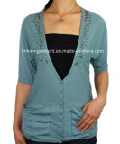 Women Knitted V Neck Fashion Clothes with Buttons (11SS-089)