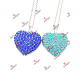 Custom Blue/Green Color Rhinestone Heart Pendant Necklace Gifts (N60103)